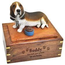 dog urns pet urns basset hound figurine wooden urn