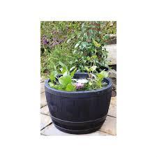 blenheim plastic half barrel planter at homebase co uk