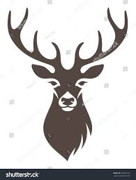 stylized deer head isolated on white stock vector 389935132