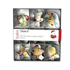 dexam 4 cm tinplate mini christmas cookie cutters set of 9