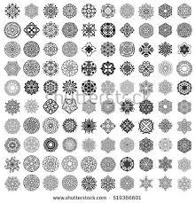 black mandala ornaments bundle big collection stock vector 519366601