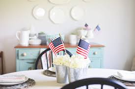 simple farmhouse inspired patriotic decor behind the camera and