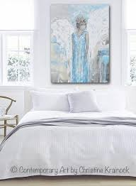 Angel Home Decor Original Abstract Angel Painting Guardian Angel Wings Blue Wall