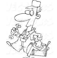 vector of a cartoon repair man carrying a tool box outlined