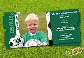 soccer sports ticket shaped photo birthday invitation set of 12