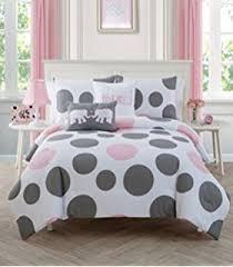 light pink and white bedding amazon com 3 piece girls light pink grey white geometric polkadot