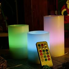 3 candle electric light pack of 3 color changing indoor led flameless candle lights ivory