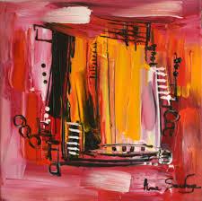 Tableau Triptyque Contemporain by Tableau Abstrait Rouge Et Jaune Au Couteau à Peindre