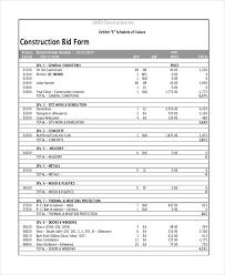 bid form for construction expin franklinfire co