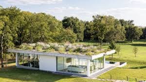 pool house this minimalist pool house with green roof is all about spring vibes