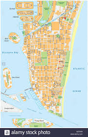 Map Of South Beach Miami by Miami Beach Detailed Vector Street Map With Names Florida Stock