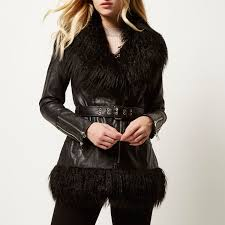 river island black leather look faux fur hem jacket in black lyst