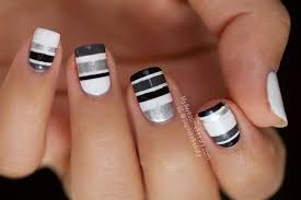 15 black and white stripe nail designs images black and white