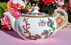 aynsley indian tree pattern bone china teapot