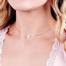 collar length necklace images White opal 5mm bead rose gold filled choker necklace jpg