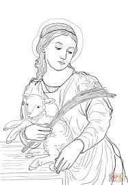 saint agnes coloring page free printable coloring pages