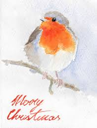 christmas cards in watercolor christmas robins easel journeys