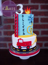 fire truck cake both tiers iced in buttercream marshmallow