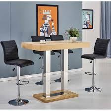 Oak Bar Table Bar Table In Oak With 4 Ripple Black Bar Stools
