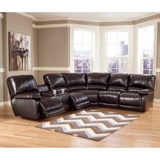 ashley furniture capote leather power reclining sectional in brown