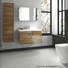 modern wall hung mirror bathroom cabinet vanity and resin basin