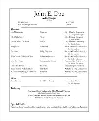 Special Skills Theatre Resume Actors Resume Example Resume Example And Free Resume Maker