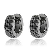 huggie earrings one carat black diamond hoops 14k gold huggie earrings by luxurman