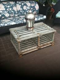 display gray maine wooden lobster trap coffee table il with