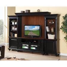 furniture black stained wooden media entertainment storage with