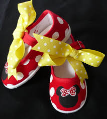 red black yellow hand painted minnie mouse baby girls shoes