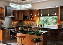 modern kitchen with cherry wood cabinets kitchen trends top designs cabinets appliances lighting