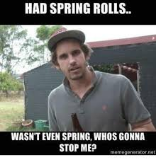 Roll Meme - had spring rolls wasn t even spring whosgonna stop me