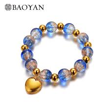 glass beaded bracelet images Baoyan 316l stainless steel jewelry heart blue murano glass bead jpg