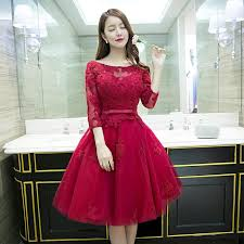 Red Cocktail Dress Plus Size 2016 New Fashion Wine Red Lace Flower 3 4 Sleeves Short A Line