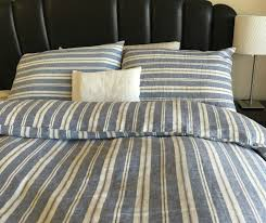 nautical striped duvet cover natural linen navy and white stripe