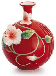 Franz Vase Franz Porcelain Collection Island Beauty Hibiscus Flower Vase