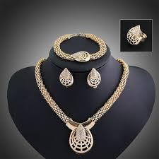 diamond sets design wholesale 2015 new drop shaped diamond alloy gold of four set