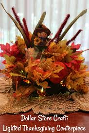dollar store craft lighted thanksgiving centerpiece