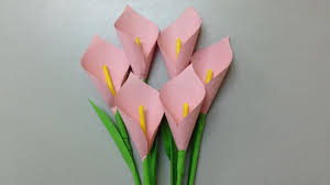 Paper Crafts - how to make calla paper flower easy origami flowers for