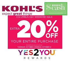 kohls columbus day sale thru oct 12th sales stackable promo
