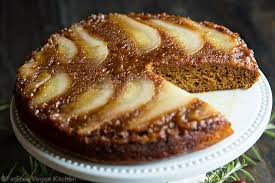 pear spice upside down cake recipe from fatfree vegan kitchen