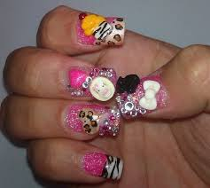 3d nail art hello kitty cupcake u0026 cheetah heart youtube