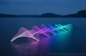 Kayak Night Lights The Motions Of Canoers And Kayakers Revealed With Leds In Long
