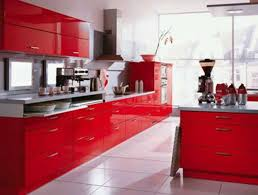 Kitchen Red Cabinets by Engaging Straight Shape Red Kitchen Featuring Double Door Kitchen