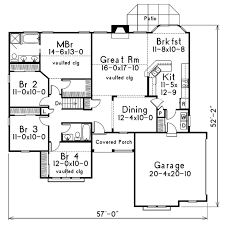 home floor plans traditional traditional style house plan 4 beds 2 baths 1761 sq ft plan 57