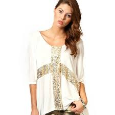 gold blouse plus size cross print gold tops stretch casual sequins decor o neck