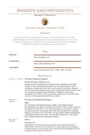 Software Experience Resume Sample by Principal Software Engineer Resume Samples Visualcv Resume