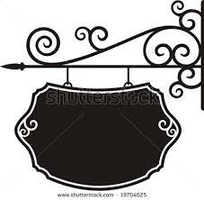 exquisite hanging sign ornamental details vector stock vector