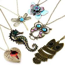 necklace with owl pendant images Vintage retro colorful crystal owl pendant and long chain jpg