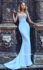 light blue formal dresses mermaid sweep v neck short sleeve jersey beading pleats lace up